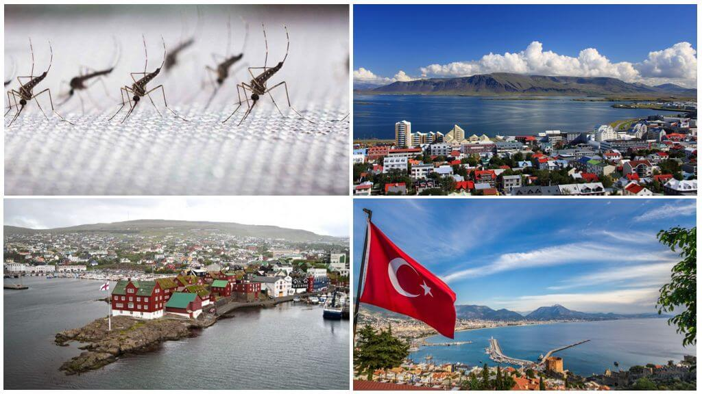 Страны без комаров