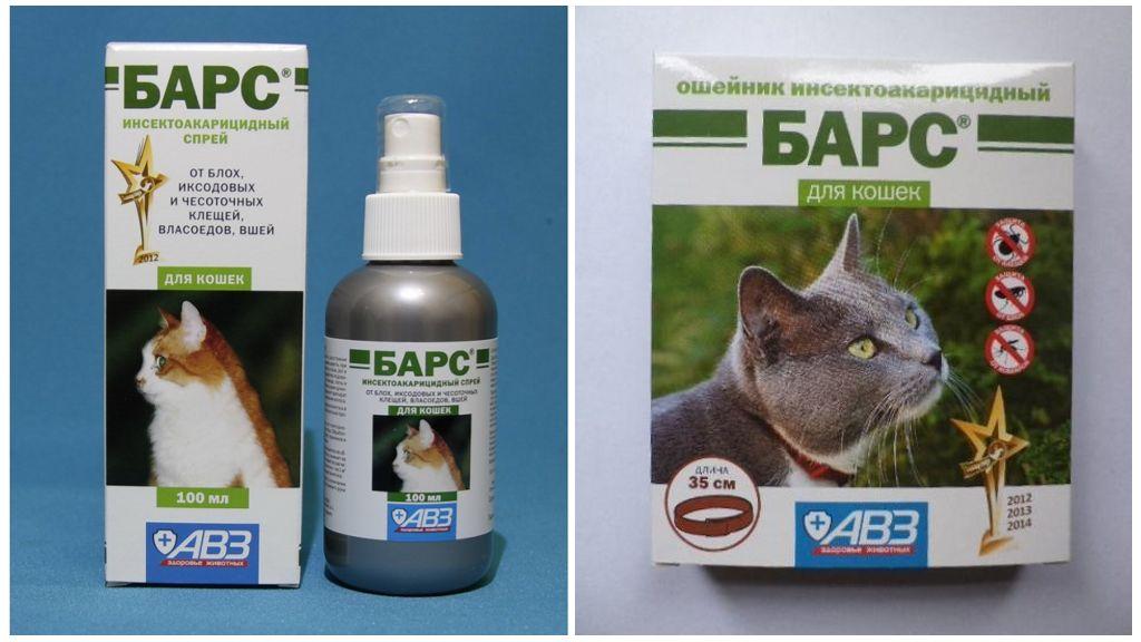 Ошейник и спрей Барс от клещей для кошек