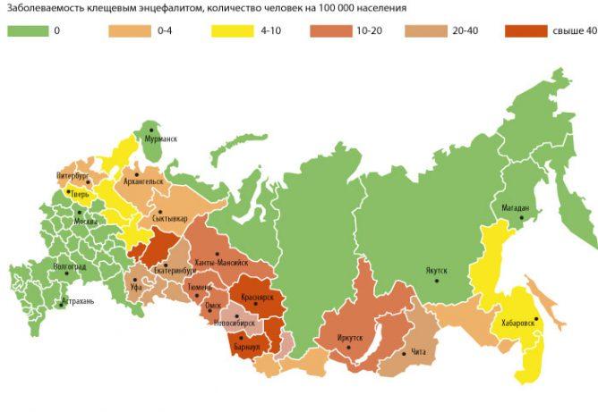 Карта энцефалитных клещей